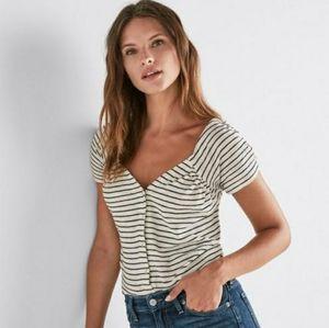 Lucky Brand Black & White Stripe Button Up Top